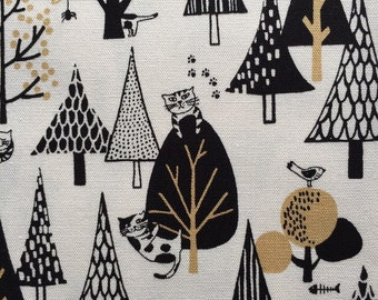 Cat in wondered fo printed Half yard white colour