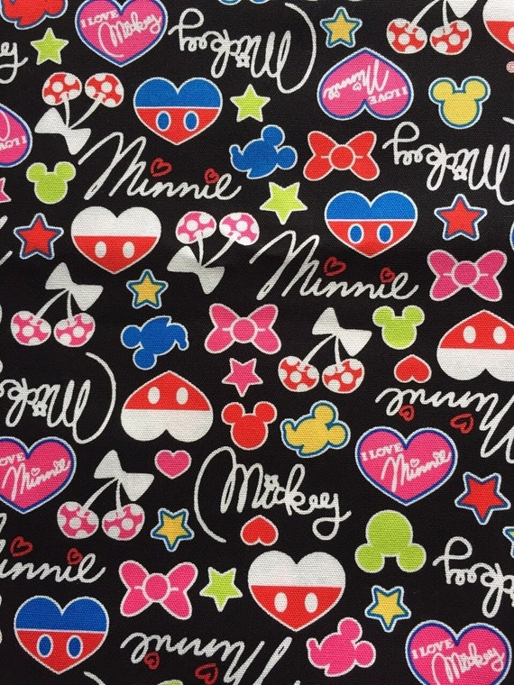 Mickey Shape Printed Fabric Half Yard From Hanamiboutique