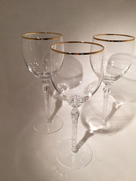 Gold rimmed lenox monroe glasses set of 3 - Lenox gold rimmed wine glasses ...