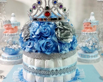 DIAPER CAKE Girls Centerpiece With Tiara Crown For Royal Princess Baby  Shower /Girls Baby Blue