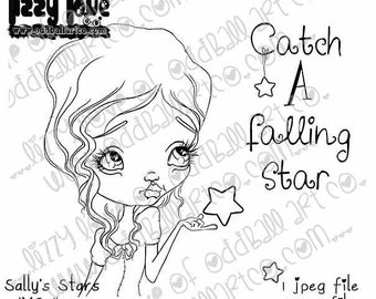 Instant Download Big Eye Beauty Whimsical Dream Digital Stamp Coloring Page ~ Sally's Stars Image No. 292 by Lizzy Love