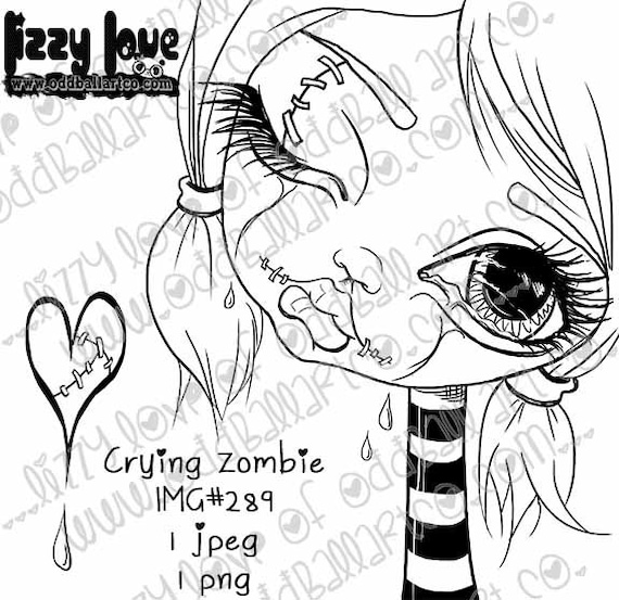Instant Download Creepy Cute Big Eye Zombie Girl Digital Stamp Coloring Page ~ Crying Zombie Image No. 289 by Lizzy Love