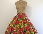 SALE 1950s Rose Print Circle Skirt 50s