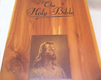 Vintage Cedar Bible Book Box, Made in USA, Bible Box, Cedar Box, The Holy Bible, Church Box,  Book Box, Jesus Photo,