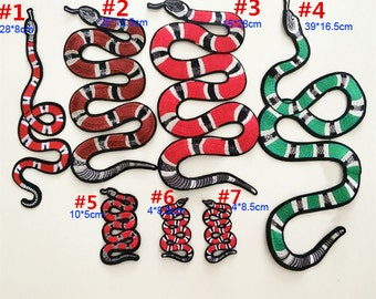 2-20pcs 4x8.5cm wide black red green snake embroidered appliques patches 3866 free ship
