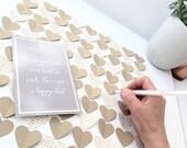 Custom Wedding Guest Book Alternative - 3D Heart Rustic Wedding Rustic Guest Book , Unique Guestbook