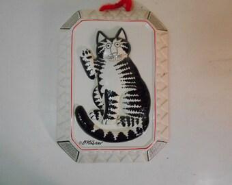 B. Kliban Waving Black & White Tabby Cat Decorative Wall Mold Mould Taste Setter Sigma Japan
