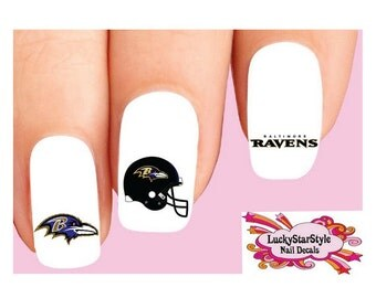 Waterslide Nail Decals Set of 20 - Baltimore Ravens Football Assorted