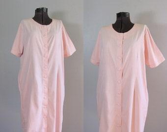 Vintage 1980s 1990s Pink Oversized Sack Dress. 90s Soft Pink Minimalist Cotton Dress. Free Size