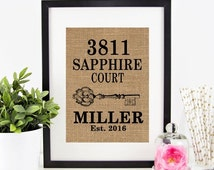 30% OFF SALE Personalized House Warming Gift BURLAP Print .. Vertical Design .... Makes a Unique New Home Gift