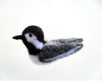 Chickadee needle felted bird ornament