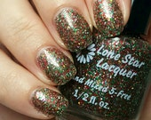 Red green silver holographic glitter nail polish (Merry & Bright)