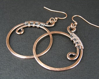 Copper Hoop Earrings Wire Wrapped, Hammered and Antiqued Copper Wire Earrings