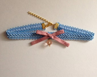 Light Blue Choker with Pink Bow and Bead
