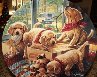 Bradford Exchange Collectible Plate - Handle With Care - by Carolyn Jagodits - Golden Retriever Pups