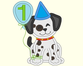 Birthday happy Puppy  machine applique  designs INSTANT DOWNLOAD 4x4, 5x7 and 6x10
