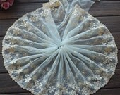 2 Yards Lace Trim Light Yellow Flower Embroidered Tulle Lace 7.87 Inches Wide High Quality