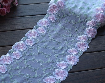 2 Yards Embroidered Lace Trim Pink Floral Embroidered Tulle Lace Trim 9 Inches Wide