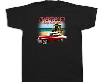 1956 Chevrolet Bel Air hardtop car Hot Rod truck chevy vintage sedan tshirts #1956_Chevrolet_BA