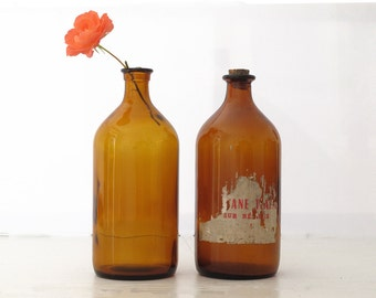 1 large vintage bottle of French pharmacy - amber apothecary jar-