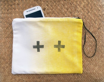Zip pouch Cross, French antique  linen,white and yellow hand screen printed, Hand Wood Block Printing, Zippered Pouch