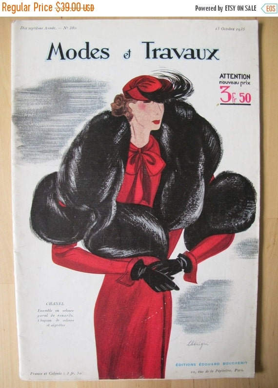 Vintage magazine french 1930 39 s modes et travaux no 380 coco chanel fas - Magazine maison et travaux ...