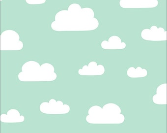 Organic Jersey Minty Clouds Fabric