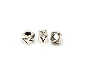 Alphabet Beads Sterling Silver 6mm Alphabet Blocks V - 1pc (3215)/1