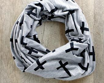 Cross Infinity Scarf, Black Gray Crosses, Gifts under 50, Gifts under 25, Gifts for Her, Teacher Gifts, Stocking Stuffer