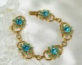On Sale Vintage Coro Bracelet Star Burst Link Blue Rhinestones Gold Tone Designer Signed