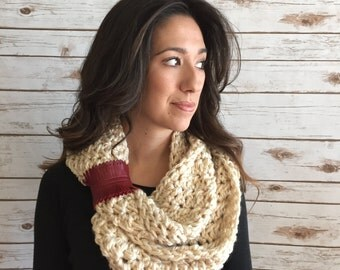 Ivory Textured Extra Long Infinity Scarf with Leather Cuff Accent, Neck Warmer, Crochet Oversized Circle Scarf, The Haman Long Scarf