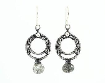 Unique silver circle earrings | rutilated quartz earrings | black earrings | gray earrings | mother's day gift | antique silver earrings