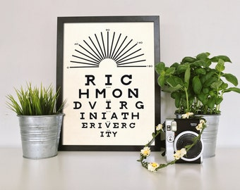 Richmond, Richmond, VA, Richmond Alum, U of R, Virginia Poster Print, City Art Print Poster, College Graduation, Dorm Decorations