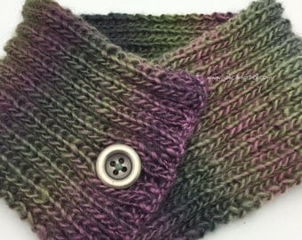 Purple and Greens Variegated Neck Warmer or Head Band Hand Knit