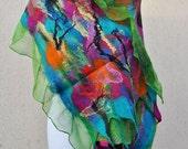 Beautiful scarfl, felted scarf, silk, wool, nuno, felted, gift, fibre art, green, pink, orange, black, turquoise, yellow