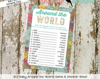 Around the world baby shower game INSTANT DOWNLOAD item 1294 oh the places map world adventure match the language baby translation