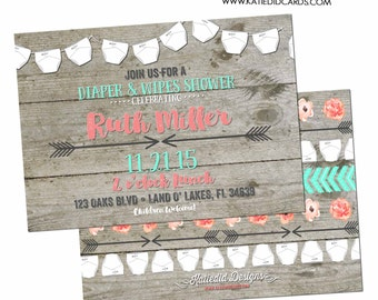 diaper shower invitation gender reveal gender neutral wood baby wipes sprinkle couples twins coed bash