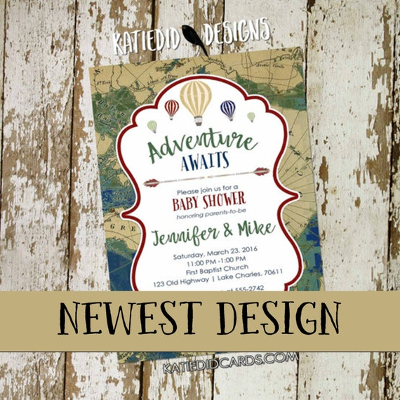Adventure awaits baby shower invitation fall colors neutral reveal map rustic chic hot air balloons burlap world navy hunter 12126 diaper