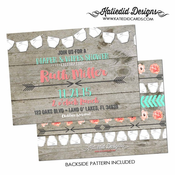 mint coral invite Tribal baby shower invitation diaper wipes wood gender reveal surprise gender two moms rustic chic 1417 Katiedid Designs