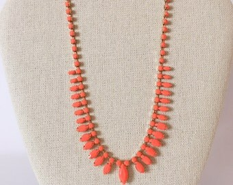 60's Vintage Bright Orange Bead Necklace