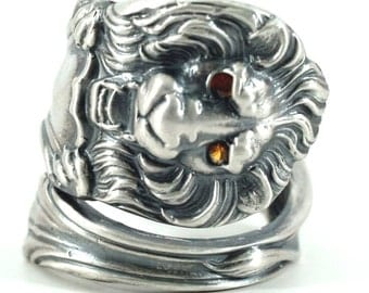 Victorian Lion Ring, Sterling Silver Spoon Ring, Yellow Sapphire Ring, Yellow Stone Ring, Wild Animal Ring, Big Cats, Custom Size (1195)