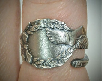 Winged Foot Ring, Hermes Ring, Sterling Silver Spoon Ring, Running Ring, Runners Gift, Racing Ring, Unique Gift, Adjustable Ring Size (5992)