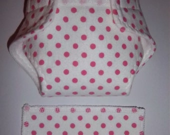 Baby Doll Diaper/wipe - pink polka dots on white  - See Shop Special - adjustable for many dolls such as bitty baby