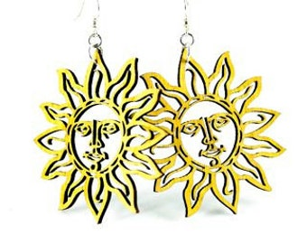 Sun Shine Wood Earrings - Laser Cut from Reforested Wood