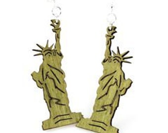 Statue of Liberty - Freedom - New York - Wood Earrings