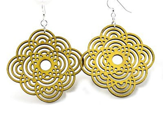 Circle Flower - Laser Cut Wood Earrings from Reforested Wood