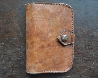 Vintage English Large Leather Coin Purse Money Card Wallet Cover Case Brown circa 1970-80's / English Shop