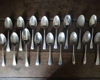 Vintage English assorted soup sweet pudding spoons collection set cutlery flatware silverware circa 1920-1950's / English Shop