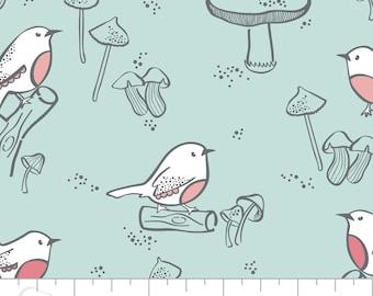 Little Bird Double Gauze in Aqua by Camelot Design Studio Fabrics