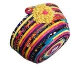 Coiled Rope Clothesline Basket - Colorful Bowl -  Homemade Kaffe Fassett Organizer - Scrappy Quilting Mulit Color - Modern Fiber Art Decor
